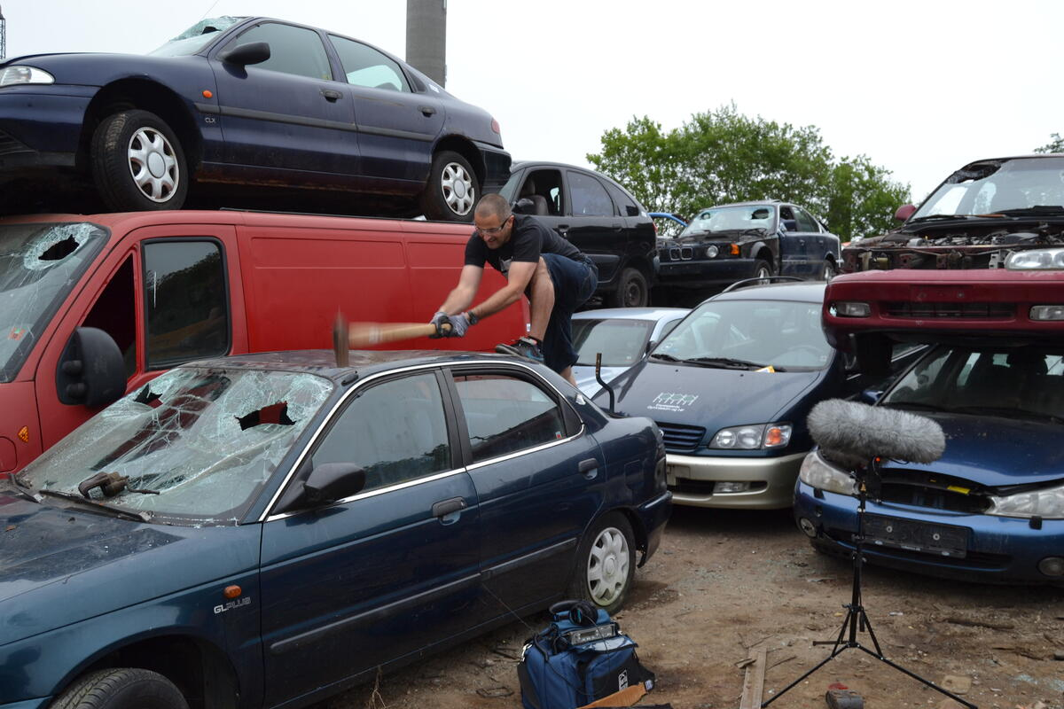 Sound effects editor Mikkel Nielsen demolishing a car