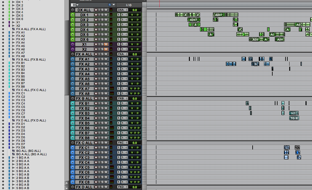Organized Pro Tools session
