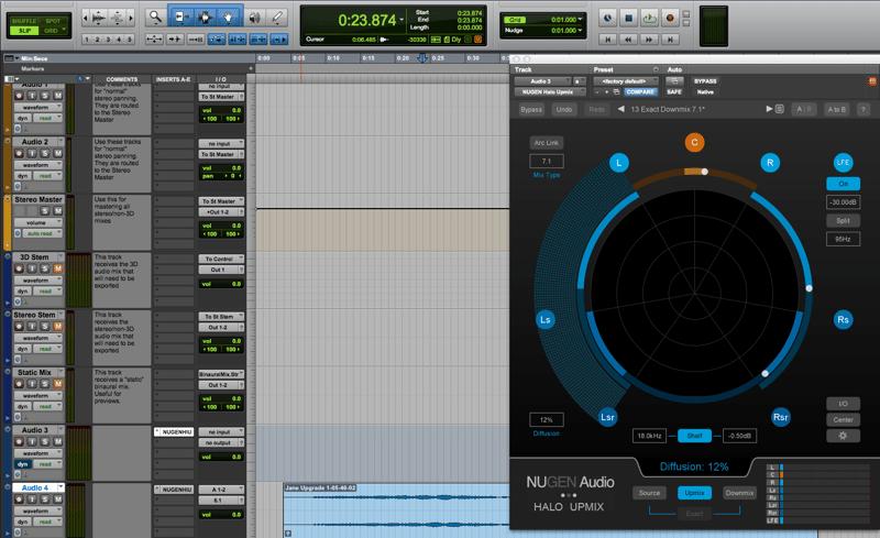 Halo Upmix Pro Tools Screenshot