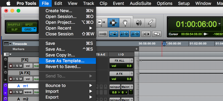 Pro Tools Session Template Save As