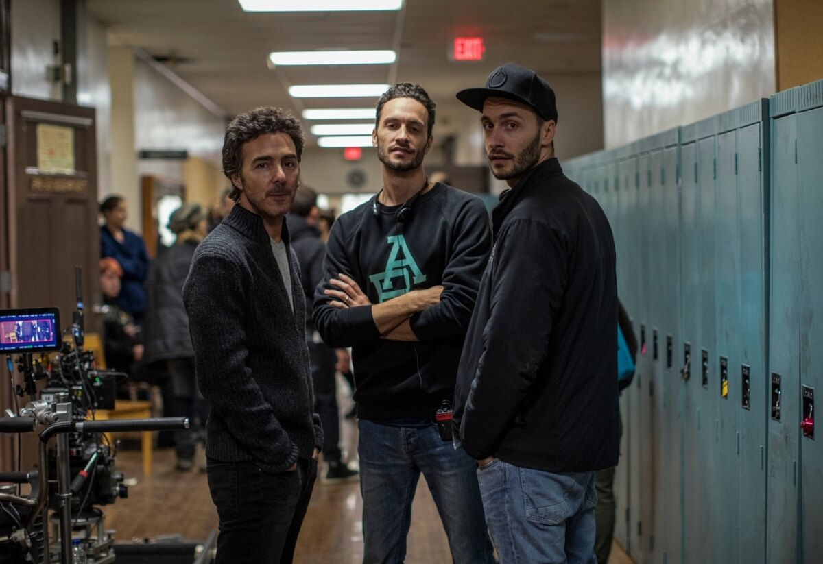 Shawn Levy, Jonathan Baker, and Josh Baker on the set of Kin