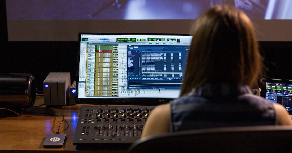 Sound artist in studio